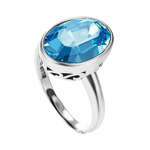 Yameng 925argento Sterling anello di cristallo verde da ragazza