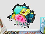 Calcomanía De Dibujos Animados Pegatinas De Pared Bob Esponja Juego De Acción Calcomanía De Pared Decoración Rompe 3D Pegatina Arte Vinilo 55X60Cm