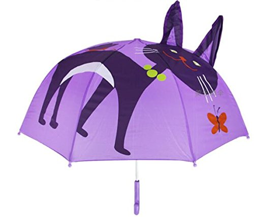 Itian Kinderparaplu, creatief karikatuur-paraplu, voor jongens en meisjes met 3D-oren (kat)