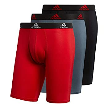 adidas Men s Performance Long Boxer Brief Underwear  3-Pack  Boxed Scarlet Red/Black/Onix Grey Large