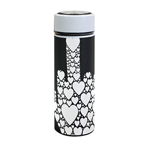 XiangHeFu reisbeker sport lekvrije thermoskan waterfles middelvinger symbool hart zwart wit 17oz koud of warm houden