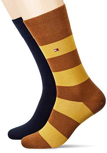 Tommy Hilfiger Mens Rugby Stripe Socken, 2er Pack, highland khaki, 43-46