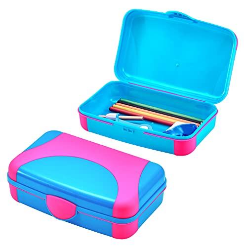 It's Academic Hard Pencil Case, Durable Plastic Pencil Box, Kid-Friendly Design, Pink & Blue