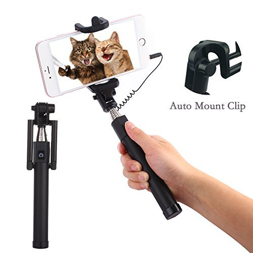 3.5mm Selfie Stick with Cable Auto Mount Clip Portable Extendable Monopod Wired Battery-Free Photo Stick Selfie Cellphone Accessories for Galaxy S9/S9 Plus/S8/S8 Plus/Note 8