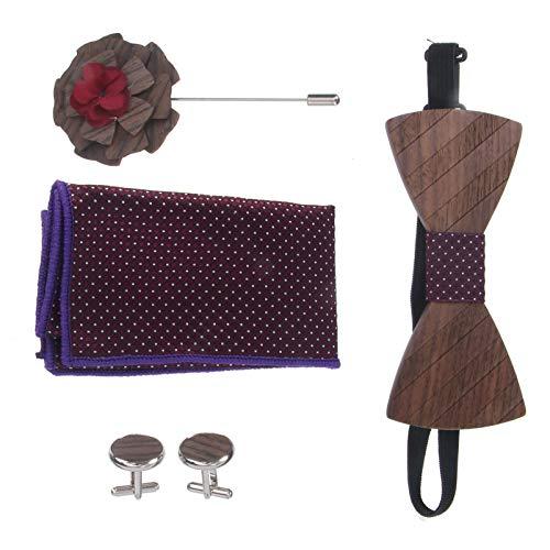 Holibanna Conjunto de Corbata para Hombre con Patrón de Madera Gemelos de Pajarita Hanky Boutonniere Accesorios de Traje de Boda para Hombres Regalo del Día del Padre Púrpura