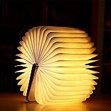 MMTX Lampada a Libro a LED in Legno Decorazione Regalo di Natale, Lampada da Notte Pieghevole per Libri con Lampada Tavolo Magnetica Ricaricabile scrivania per Regalo di Natale