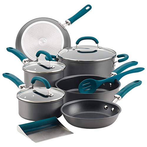 commercial Rachel Ray Beautifully hard anodized non-stick cookware, pot and pan set, 11 pieces, gray … rachael ray induction cookware