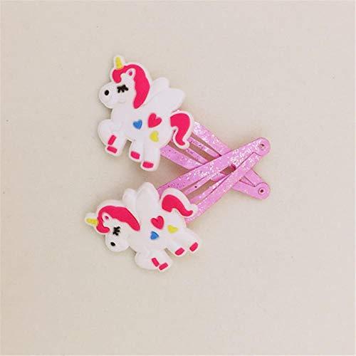 SELLA 1 paire de dessin animé licorne pinces à cheveux pour filles enfants rose couleur épingles à la main chapeaux accessoires de cheveux cadeaux, C