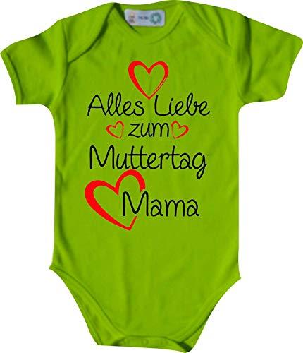Shirtinstyle Body Todo Amor para Día de la Madre Mamá, Manga Corta Body de Bebé, Bebé, Nacimiento, Bautizo, Pelele - Lima, 74-80