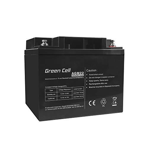 Akku Bleiakku Gel AGM 12V 40Ah Green Cell Akkubatterie für USV Bleigel Akku Sealed Lead-Acid Batterie VRLA Zyklenfest Caravan Batterie Photovoltaik Boot Solarbatterie Fischkutter Solarspeicher