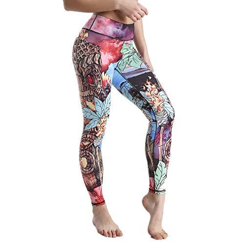NIGHTMARE Leggings para Correr de Camuflaje con Control de Abdomen para Mujer, Entrenamiento de Gimnasio, Pantalones de Yoga de Cintura Alta, Yoga, Entrenamiento para Mujeres, Correr S