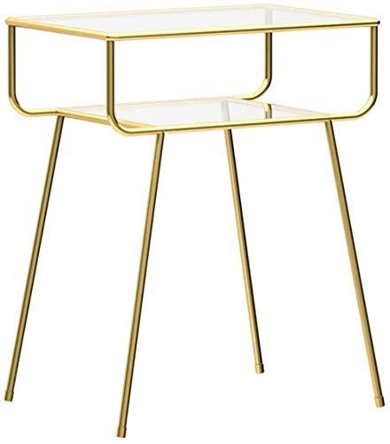Nachttisch, 2-stöckiges Regal, Nachttisch, Stauraum, Wohnzimmer, Balkon, Couchtisch, Beistelltisch (Farbe: Gold)