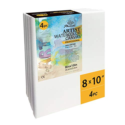 PHOENIX Blank Cotton Stretched Canvas Watercolor Artist Painting - 8x10 Inch/4 Pack - 3/4 Inch Profile Triple Primed for Water Soluble Paints
