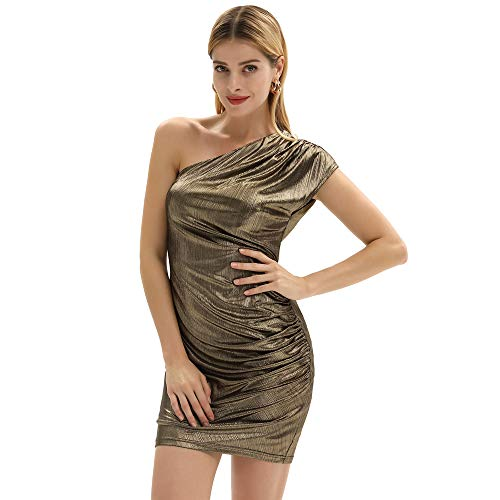 GRACE KARIN Vestiti Donna Elegante Cerimonia Senza Manca Sera a Una Spalla Cocktail Dress Sexy Vestito Damigella d'oro S CL10917-2