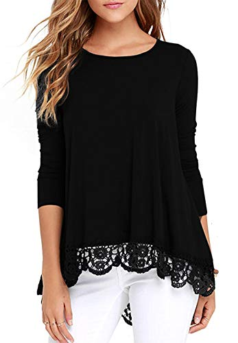 Aifer Women's Tops Casual Long Sleeve Lace Trim Round Neck A-Line Blouse Tunic Tops Black