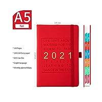 この2021年のスケジュールと英語の厚みのあるノートブックA5レザーソフトカバー学校日記オフィス事業計画文房具を計画する-Red-A5