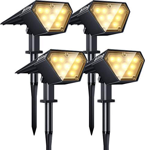Biling Solarstrahler Außen, 2-in-1 Solar Landschaftsbeleuchtung 12 LED-Lampen Solarbetriebene Leuchten IP67 Wasserdichte verstellbare Wandleuchte für Patio Pathway Yard Garden - Warmweiß (4er Pack)