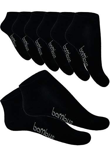 SGS 5-10 Bambus Socke Sneaker Herren Damen Bambussocken (43-46, 10 x Schwarz)