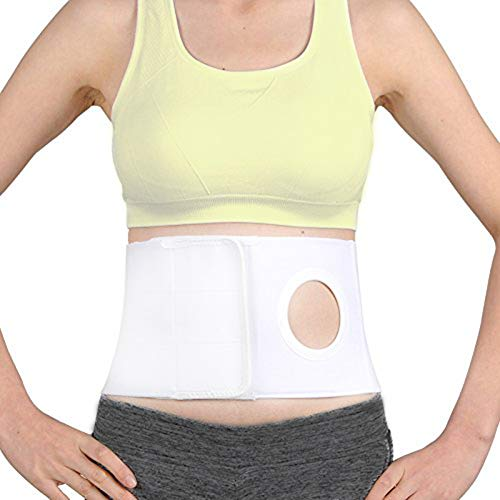 """Men Or Women Medical Ostomy Belt Ostomy Hernia Support Belt Abdominal Stoma Binder Brace Abdomen Band Stoma Support (Hole 3.14"""") for Colostomy Patients to Prevent Parastomal Hernia Stoma Opening (M)"""