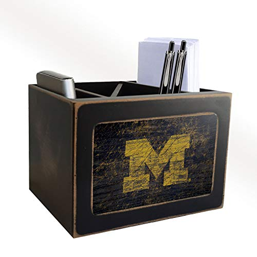 Fan Creations NCAA Michigan Wolverines Distressed Team Logo Desktop Organizer with Color