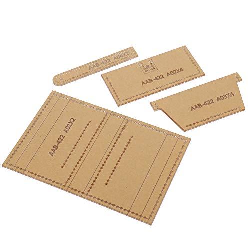 Plantilla de acrílico de 4 piezas, conjunto de plantillas de fabricación de portatarjetas DIY, patrón de cuero hecho a mano, molde de dibujo, plantilla de billetera de cuero, accesorios