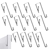 Girls'love talk 12 Pieces Over Door Hanger Metal Over Door Hangers Cupboard Drawer Door Hooks Stainless Steel Reversible Hooks