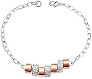 MADALENA SARARA American Fashion Alloy Tube Bead Bracelet Zircon Inlaid with Ajustable Chains