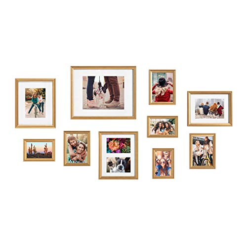 Kate and Laurel Adlynn Photo Frame Set, Set of 10, Varying Sizes, Gold, Traditional Glam Frame Collection for Wall
