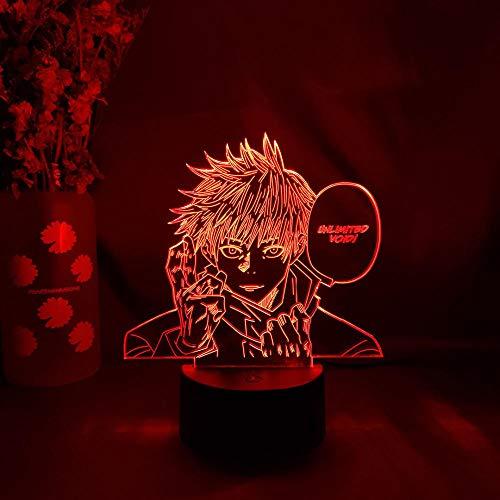 MDJK - Lámpara nocturna anime de Jujutsu Kaisen Satoru Gojo dormitorio decoración de cumpleaños manga figura otaku escritorio escritorio decoración mesa 7 colores toque