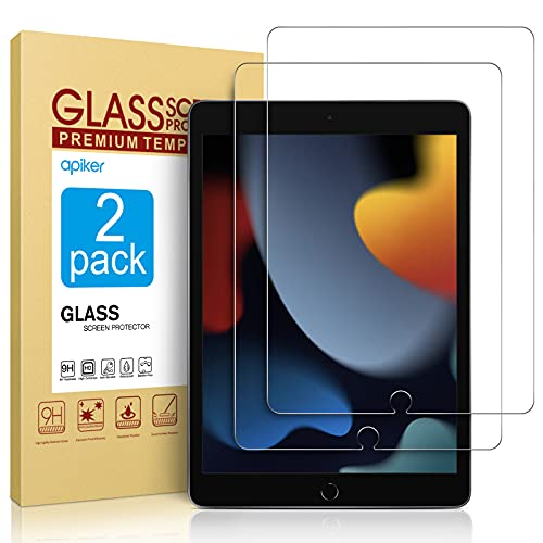 2 Pack Screen Protector Compatible with iPad 9th Generation / iPad 8th Generation 10.2 Inch, apiker Tempered Glass Compatible with iPad 9 8 7 (2021/2020/2019)