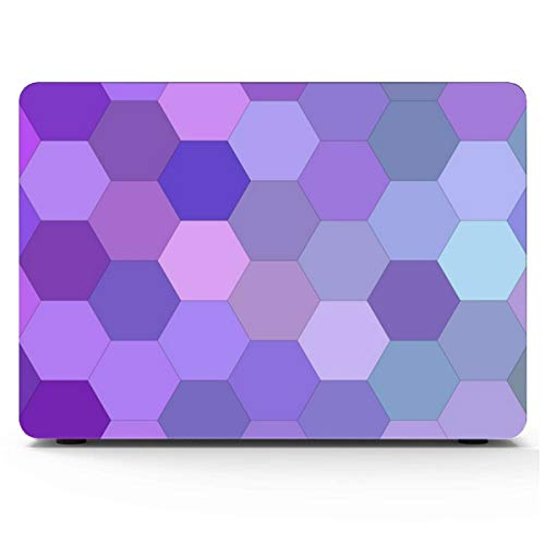 A1706 MacBook Pro Case Purple Hexagon Cell Mosaic 15 Inch MacBook Case Hard Shell Mac Air 11'/13' Pro 13'/15'/16' with Notebook Sleeve Bag for MacBook 2008-2020 Version