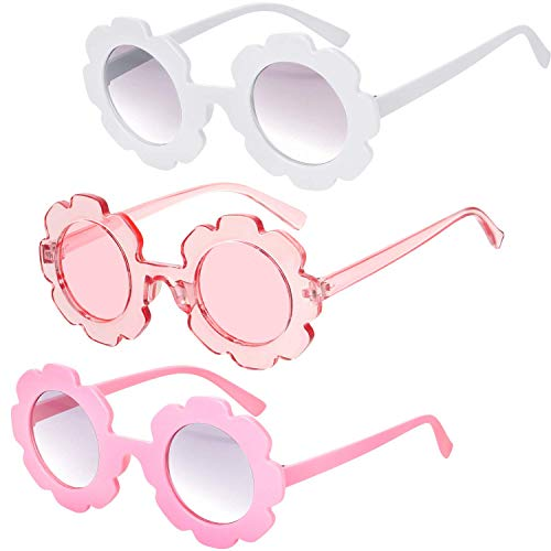 3 Piezas Gafas de Sol de Flor Redonda Gafas de Sol de Playa Linda al Aire Libre para Niños(Blanco, Rosa, Rosa Transparente)