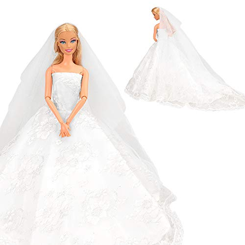 Miunana Avondjurk Kant Trein Kleding Jurken Trouwjurk Baljurk met Bruidssluier Trouwjurk voor Barbiepoppen