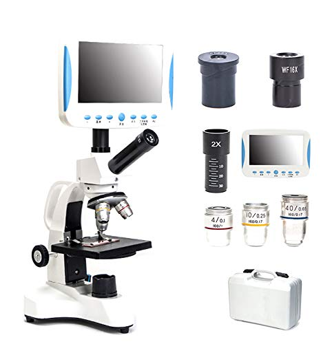 5000 X HD Specialty Monocular Microscope With LCD, USB Plug in Microscopes, Observed Sperm Mites Science Laboratory Breeding Aquatic products Blood drop Detector With storage box