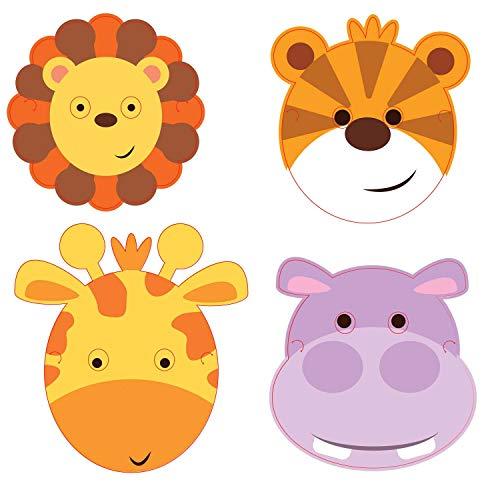 Amscan 9901932 - Masken Dschungel Tiere, 8 Stück, 16,7 x 23,2 cm, Papier