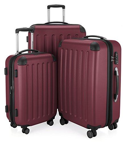 HAUPTSTADTKOFFER - Spree - 3er Koffer-Set Trolley-Set Rollkoffer Reisekoffer Erweiterbar, TSA, 4 Rollen, (S, M & L), Burgund
