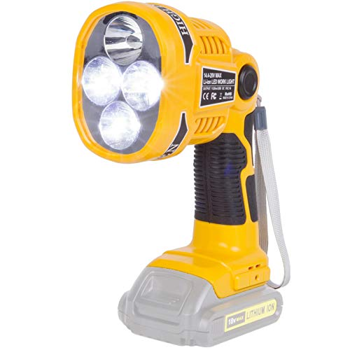 For Dewalt Light Outdoor Cordless 20V Max LED Work Light Rechargeable 12W Pistol 1120LM DCB140 Spot Lights handheld flashlight Suitable for Dewalt 144V 18V 20V Max lithium battery DCB206 DCB205