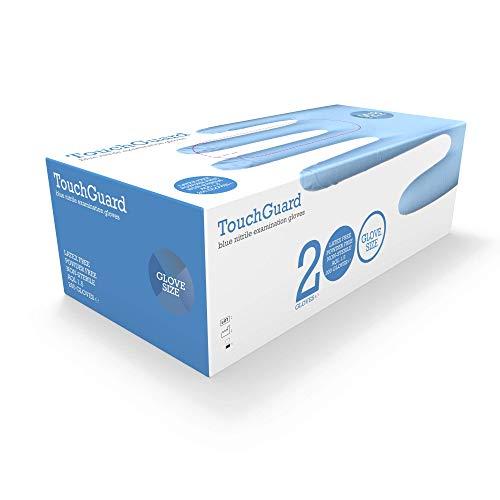 TouchGuard Blue Einweg-Nitrilhandschuhe, Puderfrei und Latexfrei, Karton mit 200 Stück, Größe M