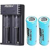 2 Piezas ICR17500 1100mah baterías Recargables Parte Superior Plana con Cargador de batería Inteligente de 2 Ranuras (Negro)