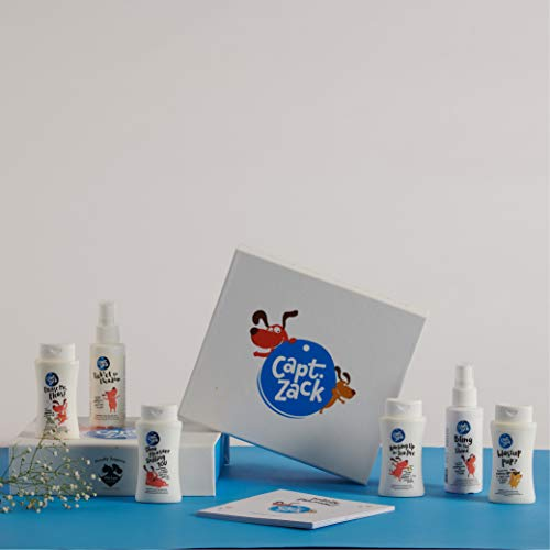 Captain Zack The Miniature Groom Box, Ideal for First Time Customers Ultimate 7-in-1, Head-to-Paw Groom-Kit for Your Puppy (Shampoo, Conditioner, Dry Shampoo, Paw Butter) - pH Neutral and Paraben-free