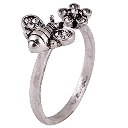 Colgante de abejas clásicas, hermosas, elegantes, con anillos de diamante, tipo de metal: ninguna, tamaño del anillo: tamaño libre