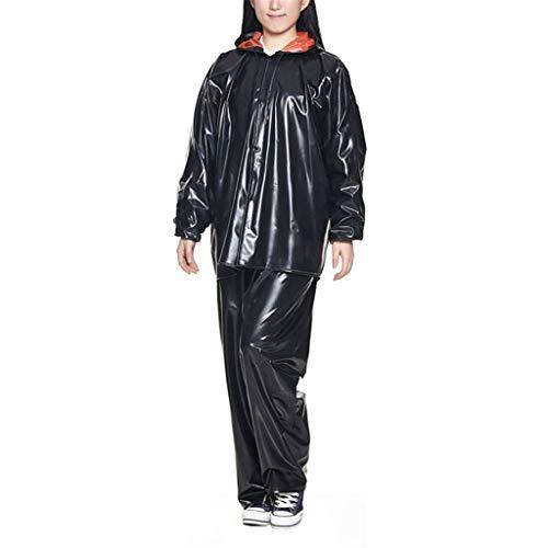 Vattentät regnrock, vattentät regnjacka kappa och byxset kostym lätt regnrock bärbara regnkläder för utomhuscykling camping resor vandring polyester svart (storlek: L)