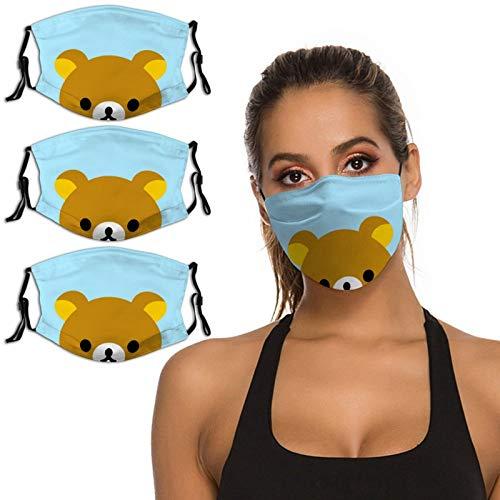 Nuberyl Brown Bear Rila-kuma - Pasamontañas unisex con diseño de pollo amarillo (15), transpirable, reutilizable, protección UV, paquete de 3 polainas para el cuello