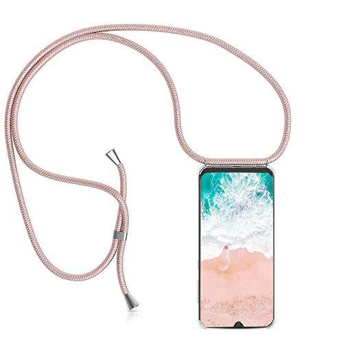 Handykette Hülle kompatibel mit ASUS ROG Phone 2/ZS660KL, Handyhülle Handy Necklace Hülle mit Band Schutzhülle Kordel zum Umhängen Transparent Weich TPU Silikon Tasche, Rosé Gold