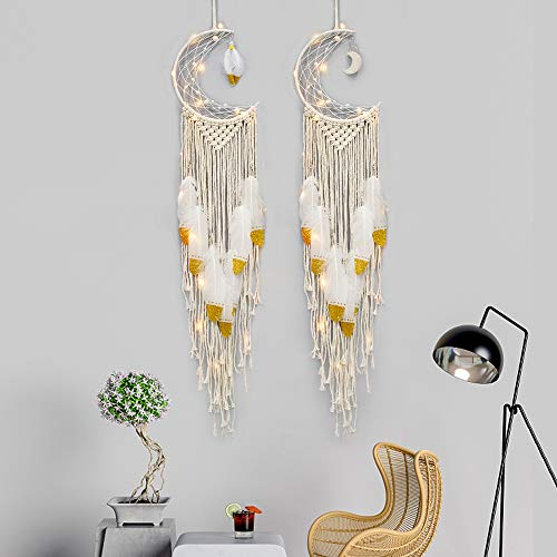 Airsnigi 2PCS Wall Hanging Dream Catcher,Boho Chic Bohemian Home Decor Handmade Wall Art Decor,with Fantasy Feathers and LED Lights, Perfect for Living Room, Bedroom, Nursery