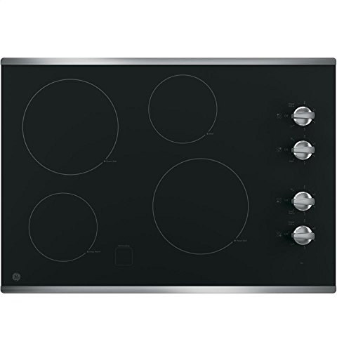 GE JP3030SJSS 30 Inch Smoothtop Electric Cooktop with 4 Radiant Elements,...