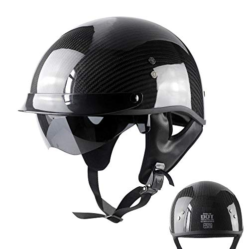 Tables Motorradhelm Jethelm Halbhelm Offener Helm Carbonfaser Cruiser Chopper Skateboard Moped Fahrradhelm Eingebaute Schutzbrille DOT/ECE Zertifizierter Helm