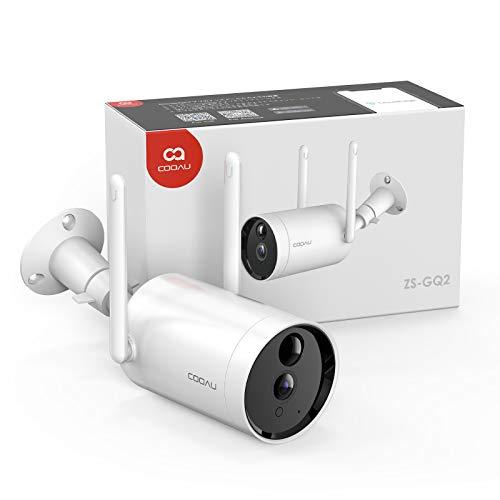 2021最新型電池式 COOAU防犯カメラ 屋外 ワイヤレス/WiFi 1080P 10400mAh大容量バッテリー 電池式 監視カメラ 完全無線 PIR人体感知センサー 暗視撮影 警報通知 双方向会話 140°超広角 ネットワークカメラ USB充電/ソーラーパネル充電可能(付属しない) 長時間待機 留守番 動体検知 遠隔操作 4DBアンテナ付き WiFi強化 USB充電式IPカメラ IP66防水防塵 iOS/Androidスマホ対応 SDカード録画 日本語アプリ&取説