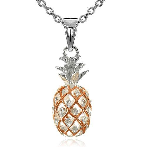 レイラニ ハワイアンジュエリー パイナップル ペンダント ネックレス シルバー 925(2トーンピンクゴールドコーティング) (チェーン付)