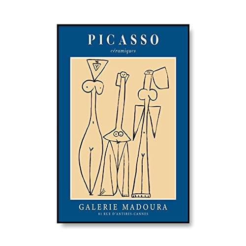 Carteles e impresiones de Picasso vintage, decoración de imagen de personaje de arte de pared de niña abstracta, pintura de lienzo sin marco A3 60x80cm